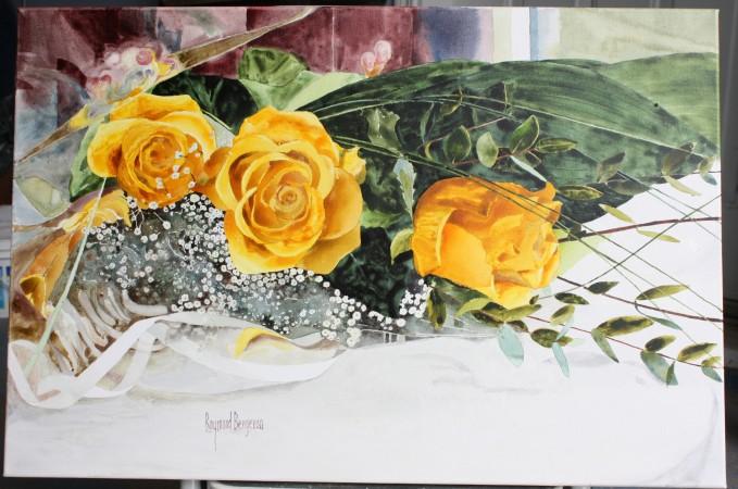 Trois roses jaunes